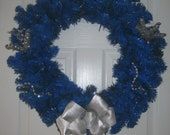 Diabetes Awareness Wreath - Solid Blue with Glitz