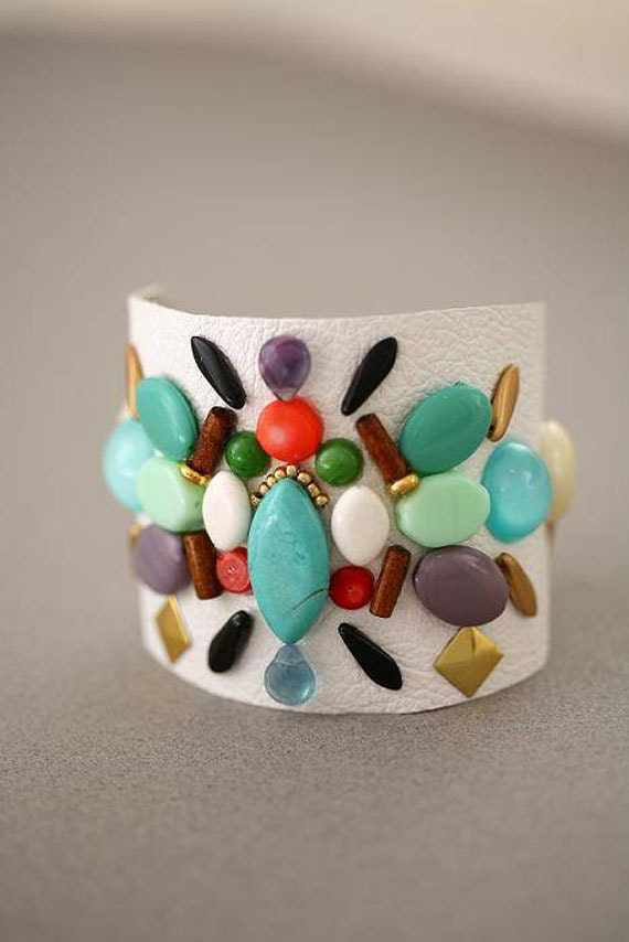 Gemstone Colorful White Leather Beaded Studded Wide Cuff Bracelet