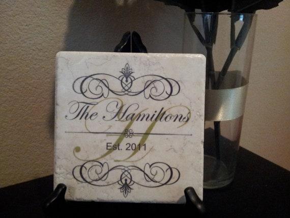 Monogram Tile Wedding Gift