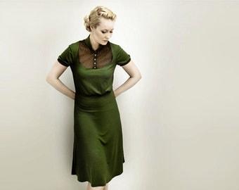 M.I.R.A olive jersey dress