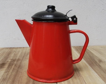SALE Vintage enamel farmhouse coffee or tea pot in a wonderful orange color with black lid