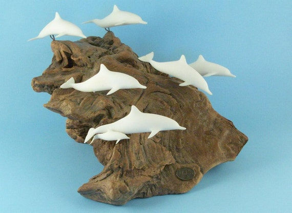 John Perry Pellucida Resin Dolphin Sculpture On Burl Wood