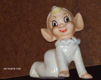 Vintage, gold trimmed, Ceramic Elf, a year round Favorite Figurine