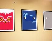 "Set of 4, Mononoke, Ponyo, Tortoro, and No face  22"" by 28"" digital prints"