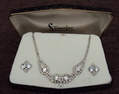 Incredible rhinestone necklace and earrings in case