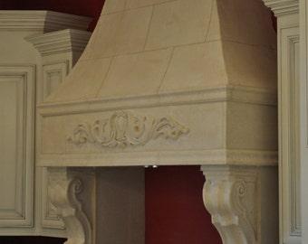 Cast Stone Kitchen HOOD mediterranian traditional style custom size available limestone hood