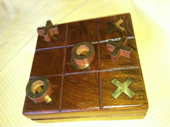 Solid Wood Tic Tac Toe Case and Pieces