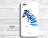 iPhone 4/ 4s 5 Case - Cell Phone Cover - Watercolor Painting Print - iPhone HardCase - Blue Zebra - Natalia Turea Art