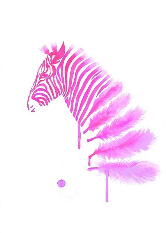 Pink Zebra Wall Decor : Pink zebra art print a wall feather modern by