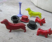 8 pc Lot Vintage cute solid 3d METAL dog top hat dachshund doll house Mini Miniature cracker jack  game pieces old charms animal s57
