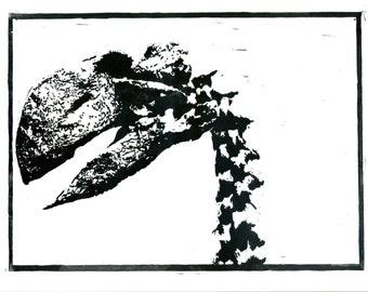 Gastornis giganteus Print: hand-pressed lino cut print 31cm by 25cm.