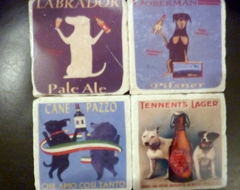 Coasters - Vintage French Ale Ads - Dog coaster - set of 4 marble coasters - Stone Coasters - Travertine Tile Coasters - animal coaster