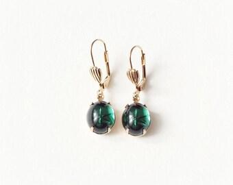 Vintage Earrings Emerald