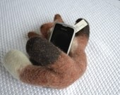 SALE, Universal Handmade cell phone Stand, Docking station Felted Fox,  Perfect as a Cristmas Present