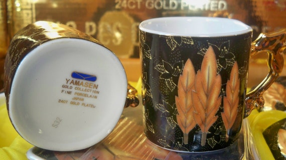 YAMASEN 24 kt Gilded Coffee Cups and Saucers Unused Japanese Porcelain  Fall Colors Gold Collection #SophieLadyDeParis