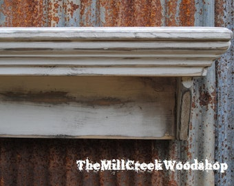 Distressed Wall Shelf 48 Inches White Distressed Shelf Ledge Mantel