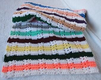 Multicoloured Lap Afghan Handmade Crochet