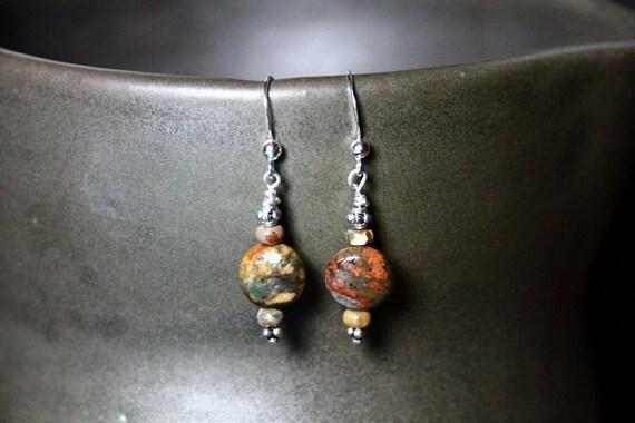 Chrysanthemum Stone (natural) Earrings
