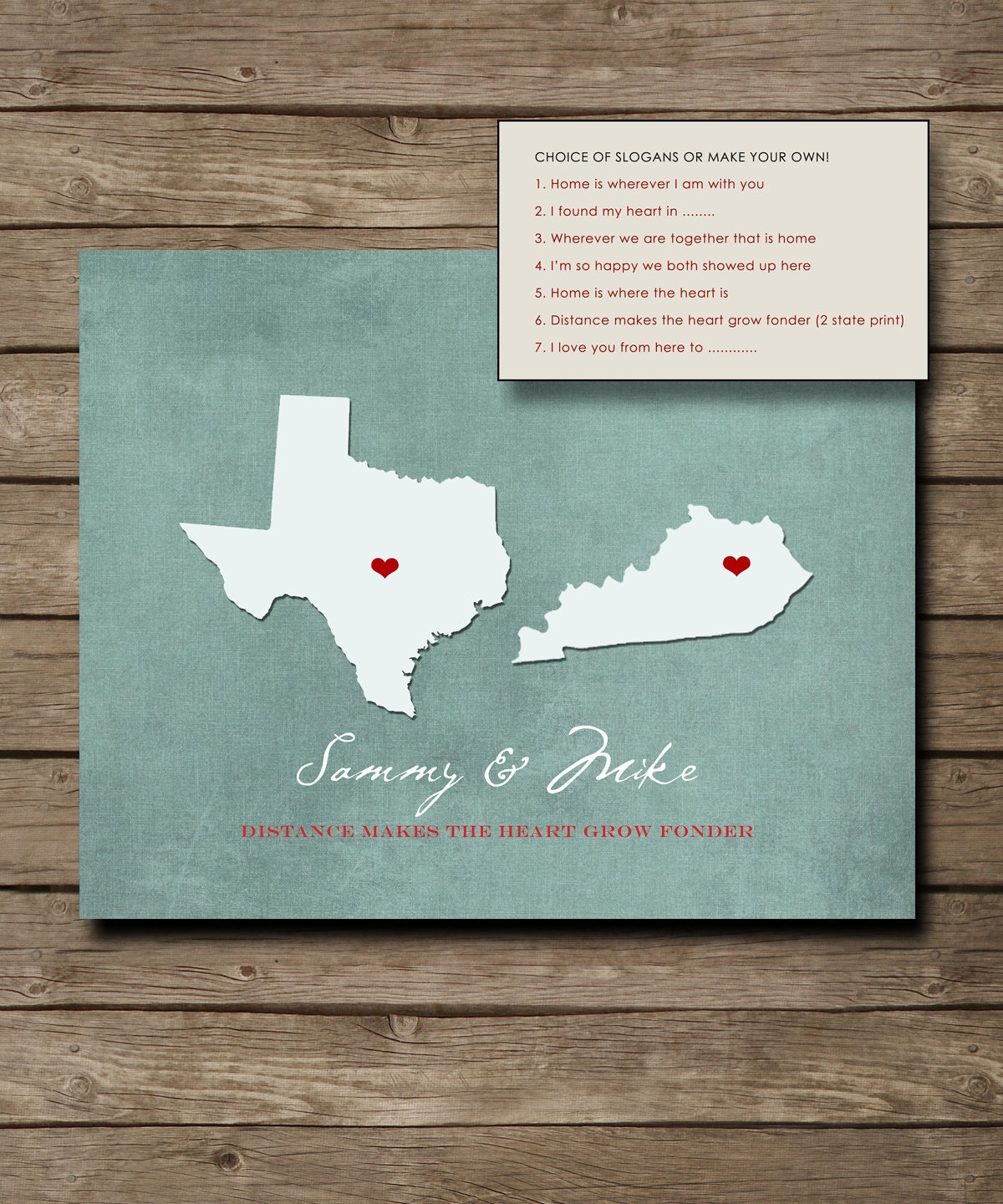 Personalized Wedding Gift Customized Long Distance Love