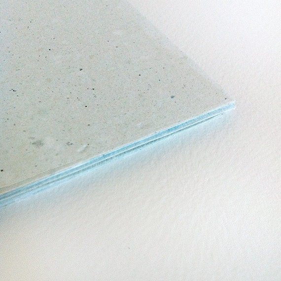 "RECYCLED PAPER - 10 pale turquoise cards ""ANICE"""