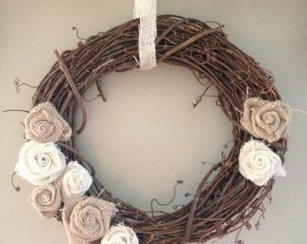 Grapevine Wreath with Burlap Rosettes