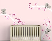 Pink Kids Decal Wall Decor Baby Pink Room White Tree Branches Pink Leaves - Koala Tree Branches by LittleLion Studio