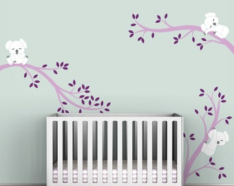 Violet Wall Decal Kids Baby Nursery Lavender White Wall Tree Decal Decor - Koala Tree Branches by LittleLion Studio