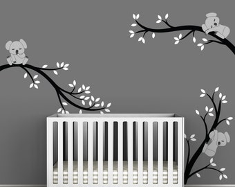 Kids Black Wall Decal Baby Nursery Room Decor - Koala Tree Branches by LittleLion Studio
