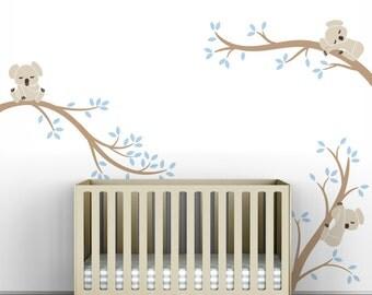 Beige Blue Wall Decal Baby Nursery Decor Tree Wall Sticker - Koala Tree Branches by LittleLion Studio