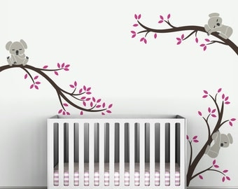 Brown Pink Wall Sticker Kids Wall Decal Baby Nursery Decor - Koala Tree Branches by LittleLion Studio
