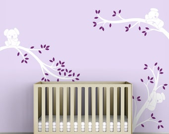 Violet Wall Tree Decal Kids Room Baby Tree Wall Decal Decor - Koala Tree Branches by LittleLion Studio