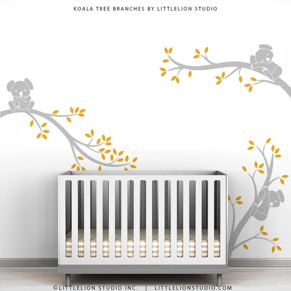 Grey Yellow Kids Tree Wall Decal Baby Nursery Wall Modern Decor - Koala Tree Branches by LittleLion Studio