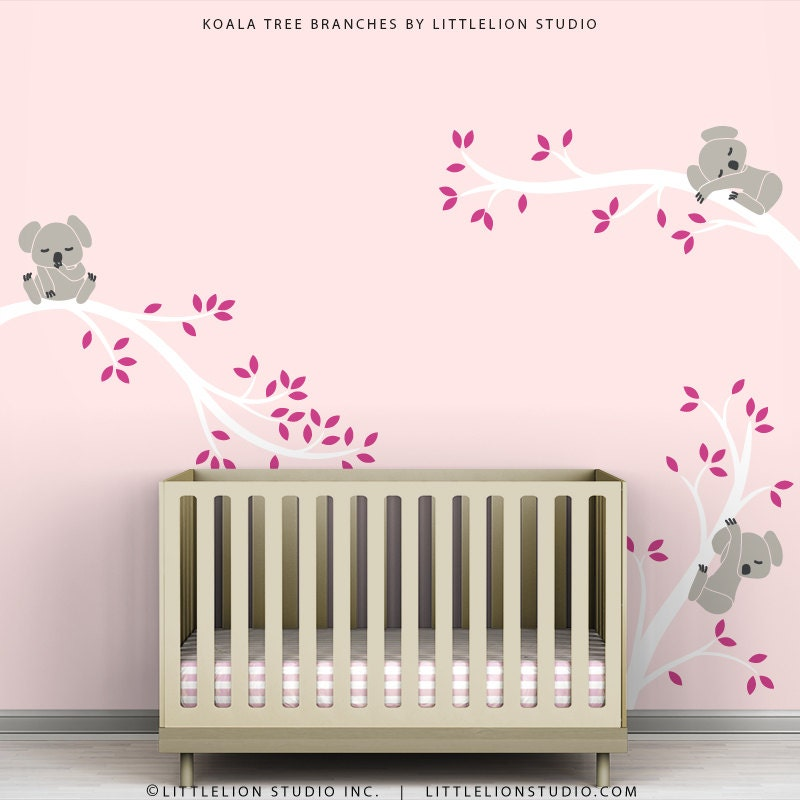 Pink kids decal wall decor baby pink room white tree branches for Baby nursery wall decoration