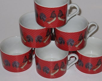 Rooster Mug(s) on Red Background- Like New Condition!