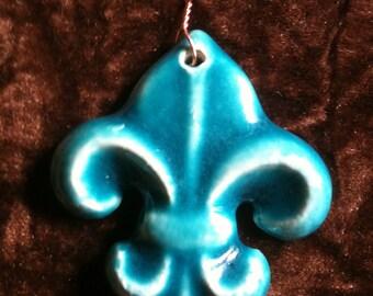 Fleur de Lis glacier blue handmade Pottery Ornament