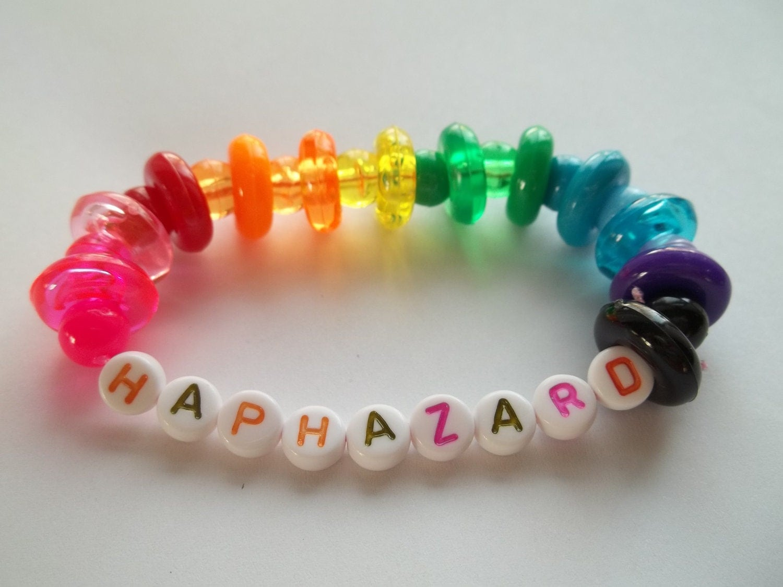 rainbow haphazard bracelet kandi bracelet by thepinkcookie