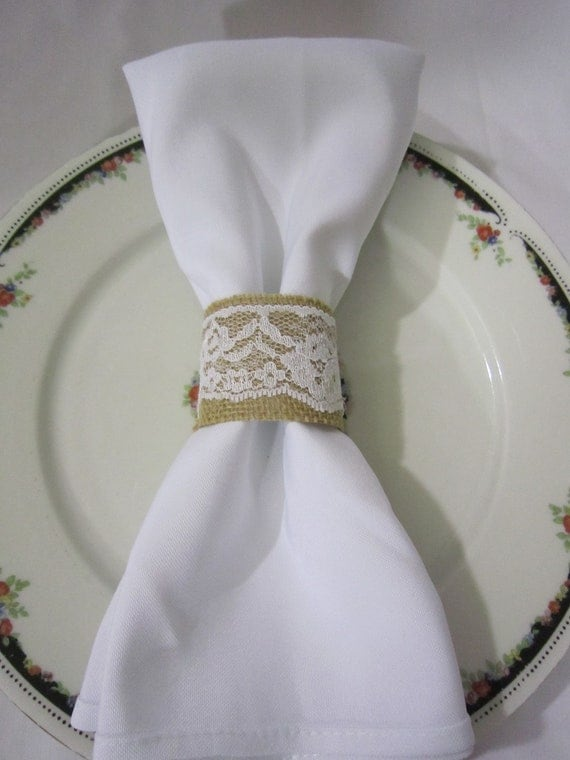 Burlap and Lace Napkin Rings - 100 pcs. / Perfect Decor for Weddings ...
