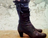 PDF CROCHET PATTERN Grey Gray Victorian Leg Warmers Spats 5
