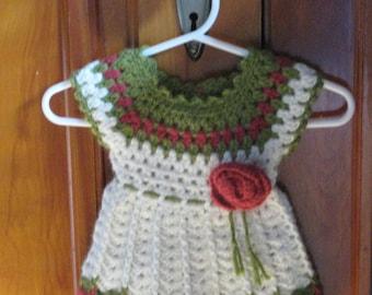 Crochet Rose Dress- size 0-3 mo