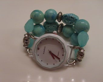 Double Stranded Mint Green Beaded Watch Band Set (88)