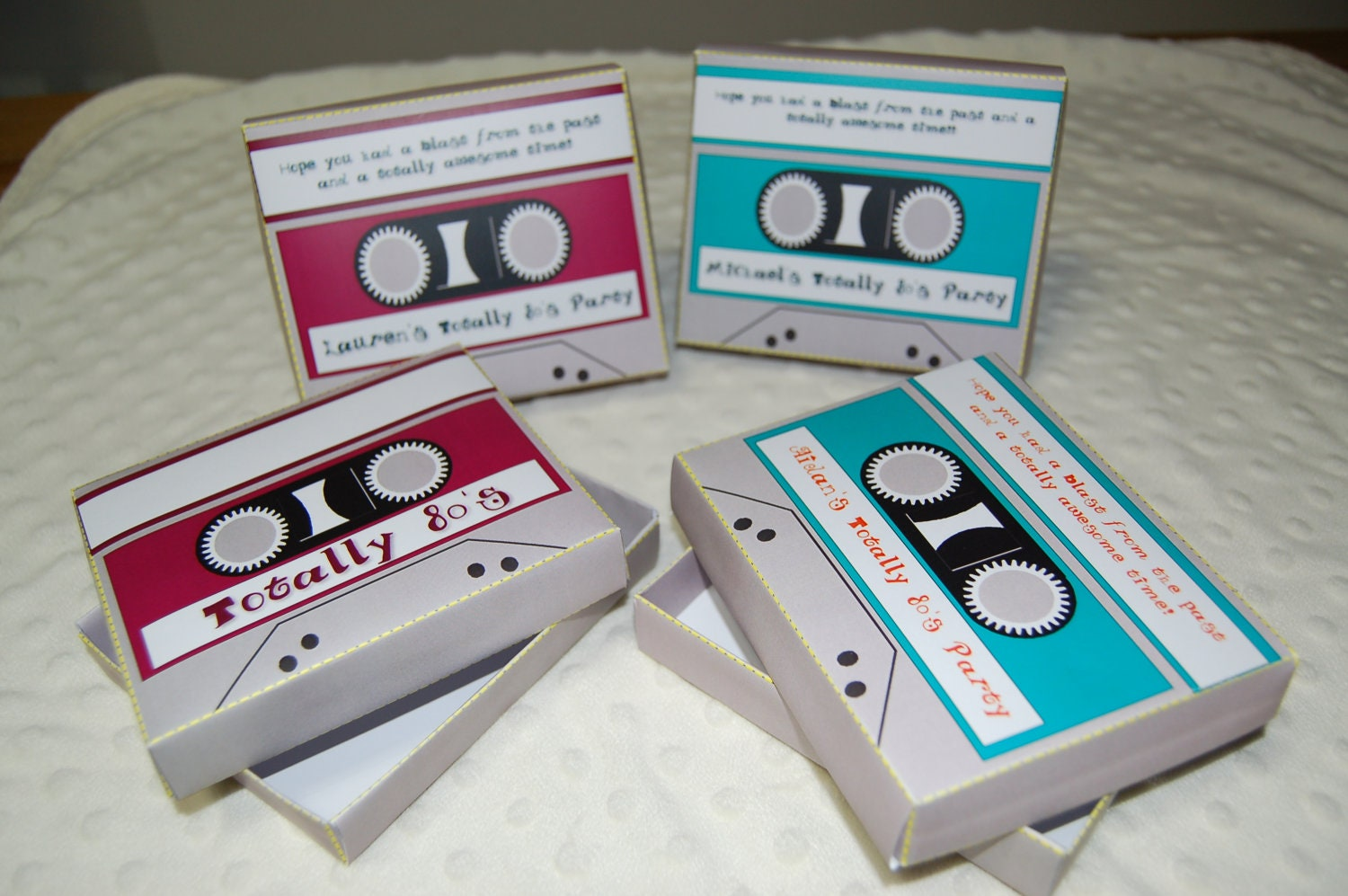 Personalized printable cassette tape 80s theme favor box for Decoration 80 s