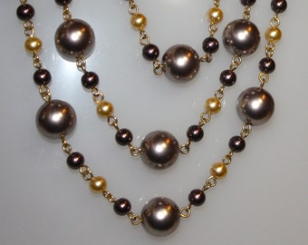 """Plum Colored 3 Strand Beaded Necklace    18"""""""