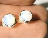 6mm Smooth Sea Opal Opalite Stud Post Earrings Wire Wrapped in Silver