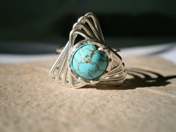 Turquoise Wire Wrapped Ring, Silver Filled Wire, any size