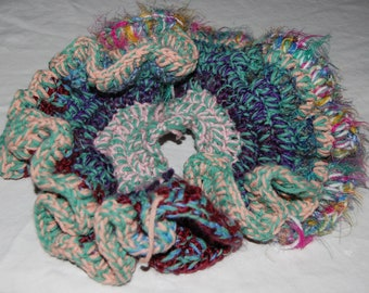 Multi-colored 3D Crocheted Coral Decoration