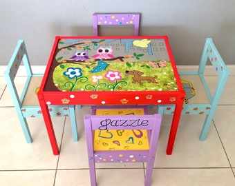 Baby Owls Play Table and 4 Chairs for Children 1 and up