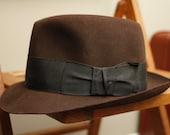 50's/60's Vintage Men's Fedora Fur Felt Brown 6 7/8 ON SALE NOW