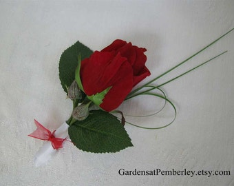 Red Rose Boutonniere Prom / Homecoming / Wedding