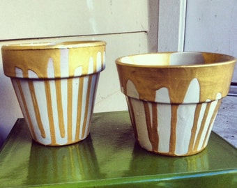 Dripping In Gold Planter Pots