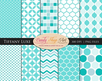 Instant Download- Tiffany Luxe Backgrounds - Turquoise Blue -